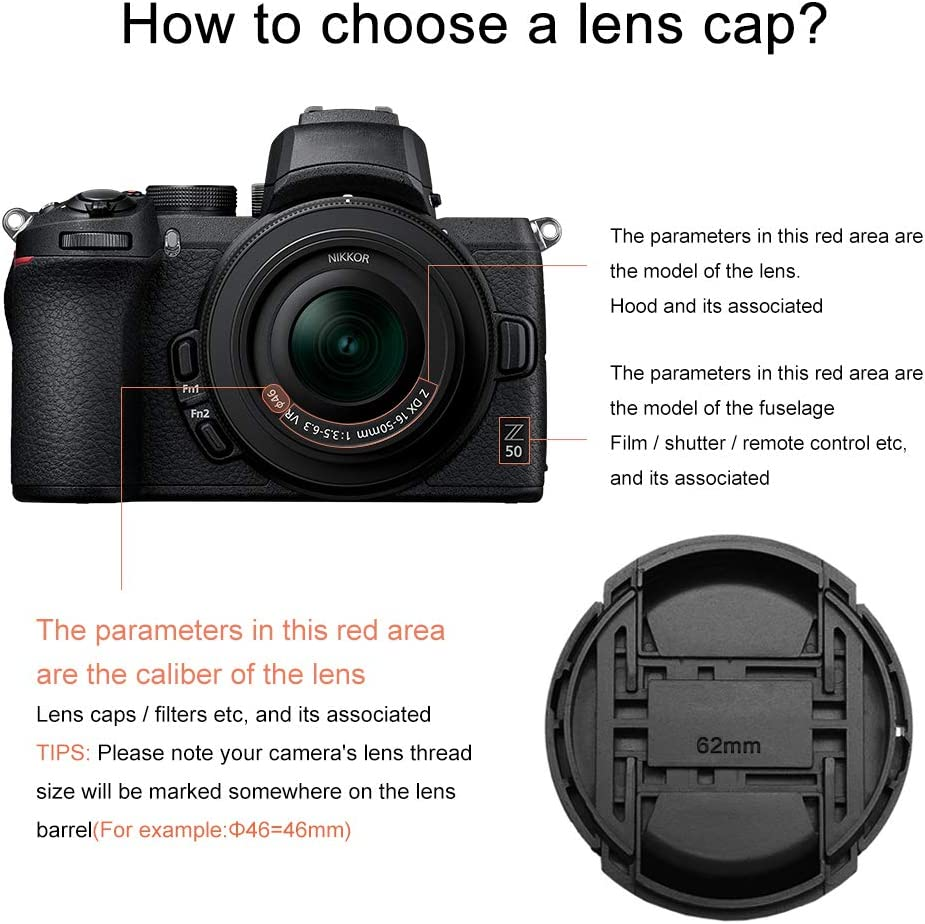 GAOAG 2 Pack 46mm Center Pinch Front Lens Cap for Nikon Canon Sony Sigma Olympus DSLR Compatible with Sigma 19mm f2.8 DN//Canon EF 200mm f//1.8 L USM//Nikon Nikkor Z DX 16-50mm f//3.5-6.3 VR Lenses
