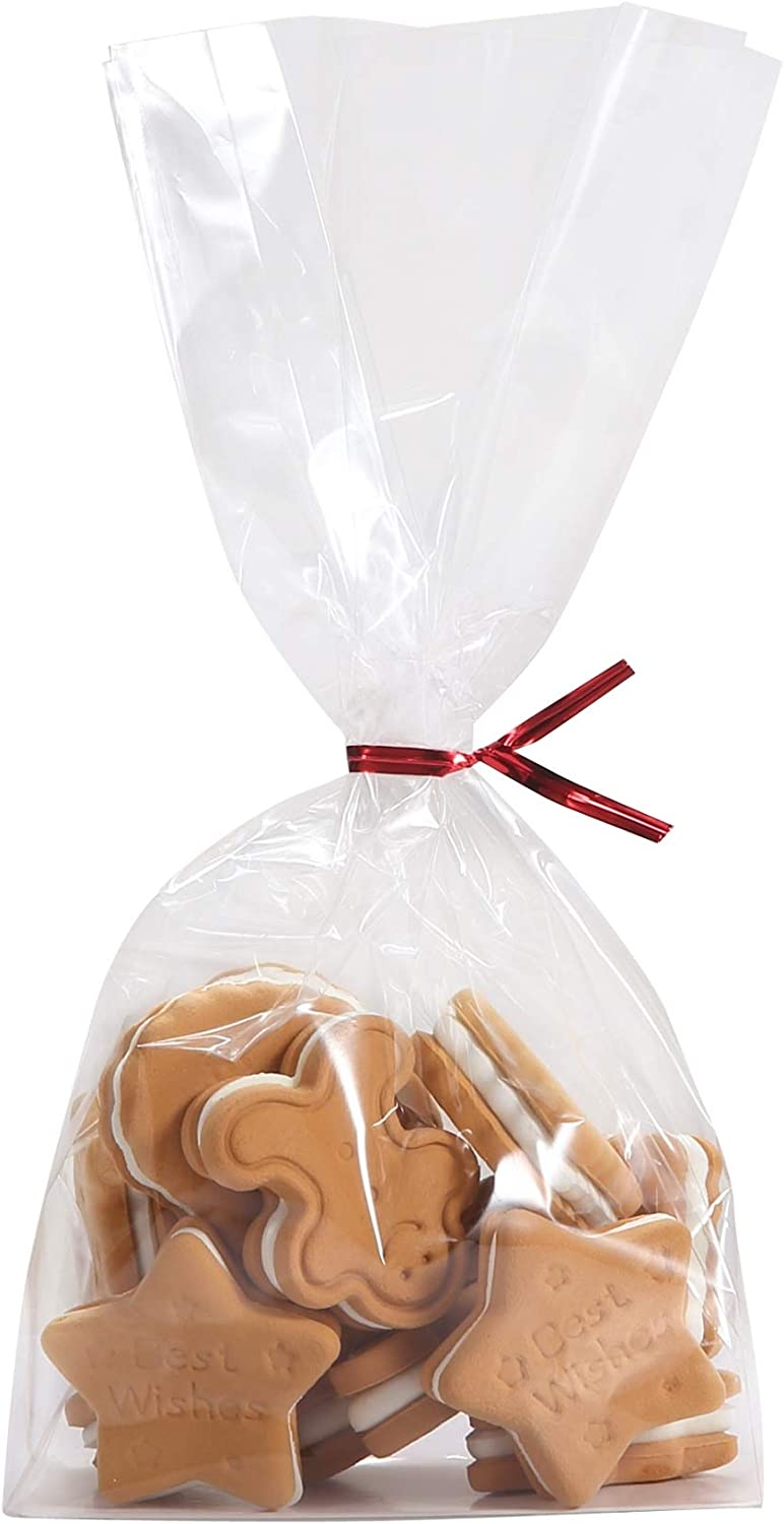 100 Clear Flat Bottomed Cookie Bags with Paper Insert Twist Ties - Heat Seal Gift Wrap Cello Bag for Sandwich Treat Presenting Packaged Candy Popcorn Bakery by Quotidian (4