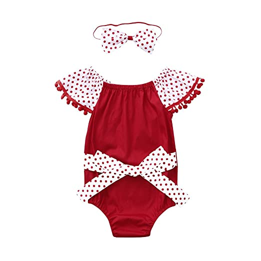 1e79c235d53 Amazon.com  Fineser Infant Baby Girls Dot Tassel Romper Summer Cute Jumpsuit  with Headband Outfits  Clothing