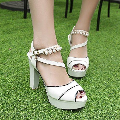 blanco de rosa azul mujer exterior el comodidad toe bloque White ZHZNVX sandalias Zapatos tacón de verano para peep polipiel awWZT0q