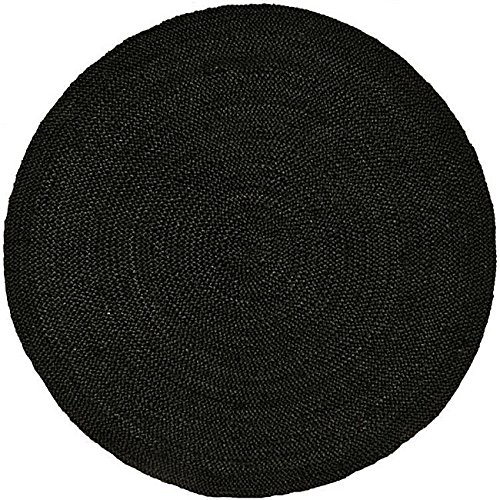 Acura Rugs Natural Jute Collection Transitional Style Hand Woven Round Area Rug, 6', Black