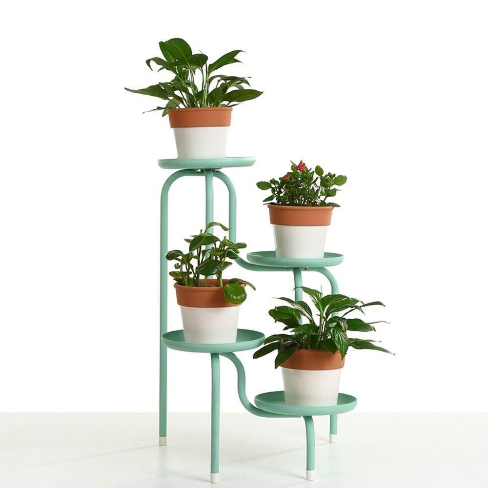 European-Style Iron Creative Multi-Storey Flower Stand Flower Balcony Balcony Living Room Floor Flower Pot Rack (Color : Blue)