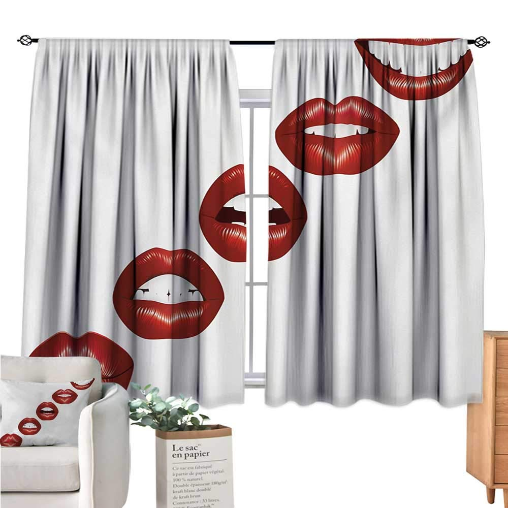 Warm Family Kiss Blackout Curtains for Bedroom Vivid Full Red Lips Smiling Kissing Sexy Lipstick Mouth Mimicry Femimine Cosmetics Ruby White Curtain Valance W72 x L45