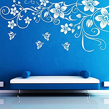 Buy Decor Kafe Decal Style Butterfly Floral Wall Sticker Poster Pvc Vinyl 91 X 43 Cm Online At Low Prices In India