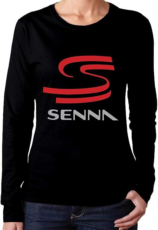 Camiseta de Manga Larga Ayrton Senna para Mujer Camiseta Casual con Cuello Redondo