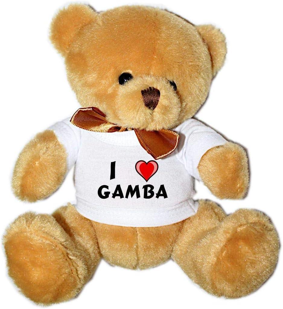 Oso de peluche con Amo Gamba en la camiseta (nombre de pila ...