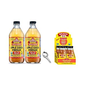 Bragg Organic Apple Cider Vinegar With the Mother 16 Oz Pack of 2 w/ Measuring Spoon and Bragg Organic Apple Cider Vinegar Shot with Carrot Ginger 2 Oz ACV Shot Pack of 4 Bundle