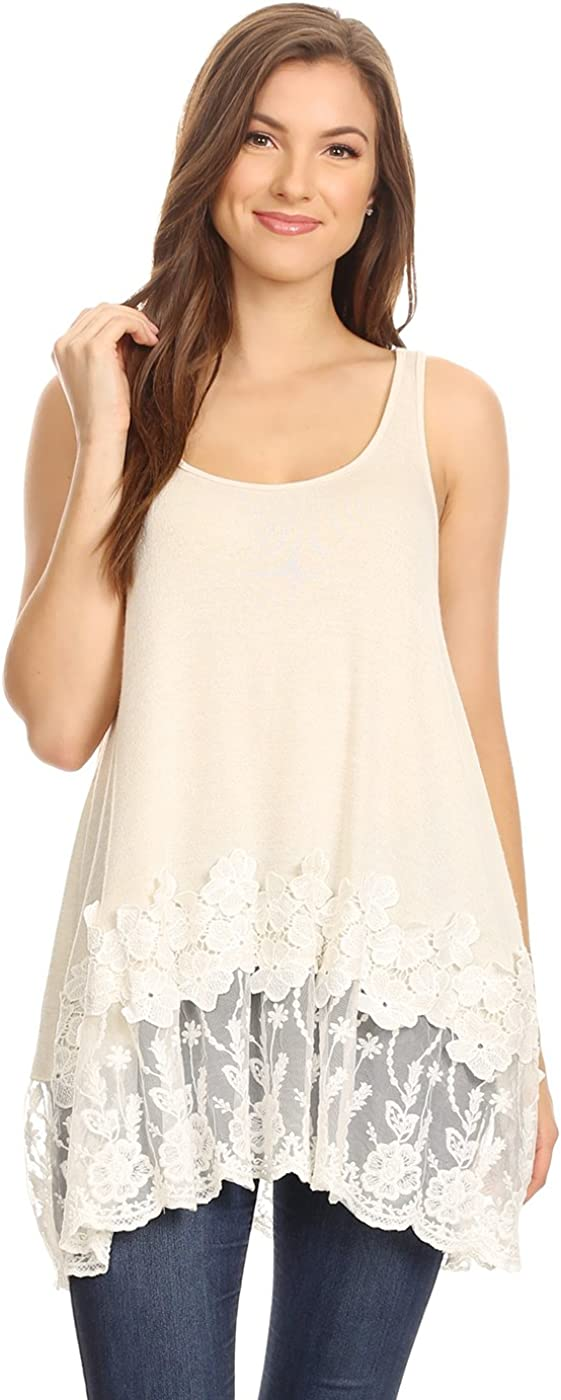 Women's Lace Trimmed Tank Tops Casual Loose Fit Sleeveless Camisoles Dress Shirt