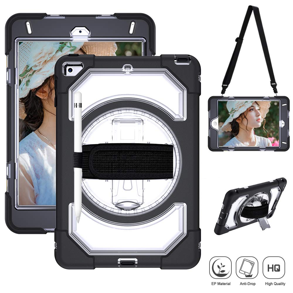 『2年保証』 iPad iPad Mini 4ケース 360度回転 子供用 楽しいプレイアーマーケース 高耐久デュアル保護バックカバー 丈夫なケース 子供用 (ブラック) キックスタンドとレザーハンドストラップ付き iPad Mini 4用 (ブラック) オフホワイト mini5-clear-1 B07QMKHFQ5, 朝日町:28bc9862 --- a0267596.xsph.ru