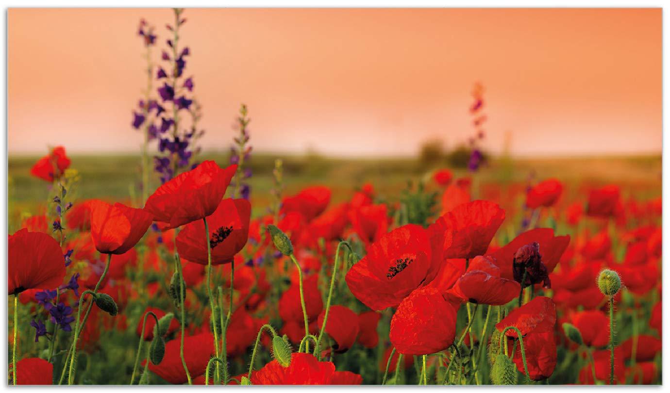Herdabdeckplatte 1-teilig aus Glas 60x52cm Leuchtende Mohnblumen Rote