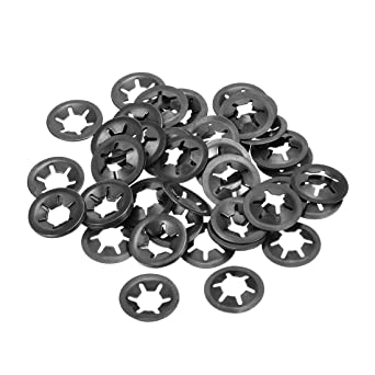 16mm O.D Internal Tooth Lock Washers Push-On Locking Speed Clip 65Mn Black Oxide Finish 60pcs uxcell M6 Starlock Washer 5.5mm I.D