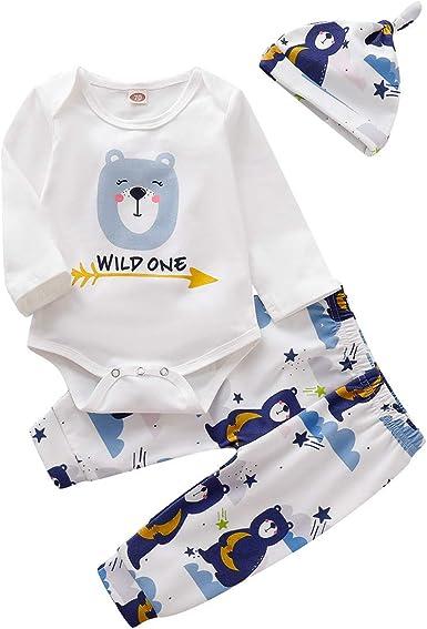 Unisex Baby Clothing Sets Cotton Long Sleeve T-Shirt+Pants+Hat Infant  Cartoon