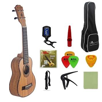 FLEOR Ukelele Caoba 21 Soprano Uke para principiantes Guitarra Hawaiana con bolsa de gigas