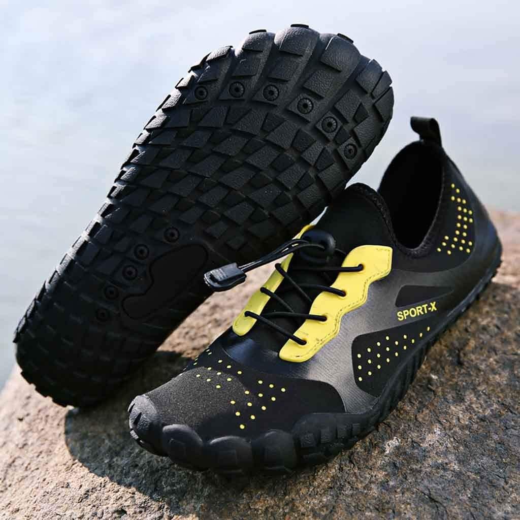 Hunzed Men【Swim Drawstring Shoes】 Water Sports Shoes for Men Aqua Socks Swim Barefoot Beach Swim Shoes huz