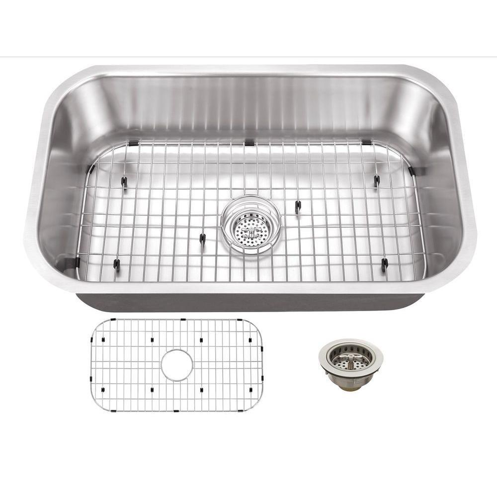 Schon SCSB301816 Undermount 16-Gauge Single Bowl Sink 30-Inch by 18-Inch Kitchen Sink, Stainless Steel