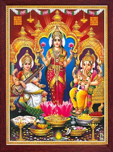 HandicraftStore Holy Hindu Goddess Maa Laxmi with Goddess Saraswati & Lord Ganesha, a Indian Hindu Religious Poster Painting with Framing. by HandicraftStore