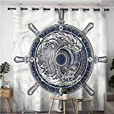 BE.SUN Kids Curtains,Adventure,Sea Compass Tsunami,Grommet Curtains for Bedroom,W72x108L