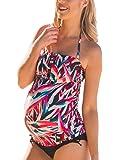 Halter Maternity Tankini Abstract Cutout Pregnancy Swimsuit Two Piece Beach Swimwear