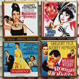 Audrey Hepburn movie poster coasters with gold trim