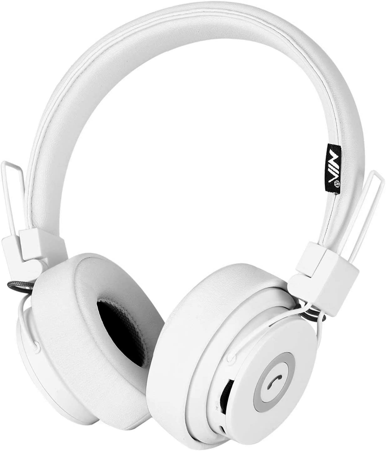 Bluetooth Headphones On Ear, Hi-Fi Stereo Foldable Over-Ear Headset with Microphone, APP to Control Headphones, Soft Earmuffs Support SD Card FM Radio Wired and Wireless Headset for Kids Adults, White