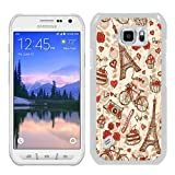 France Paris Love City Eiffel Tower Floral Pattern White Shell Case for Samsung Galaxy S6 Active,Luxury Cover