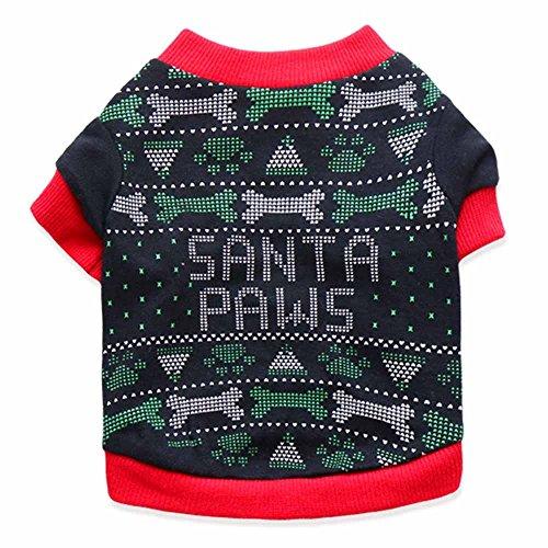 Redskins Santa - Santa Paws,Lookvv Pet Clothes Dog Sweater Soft Warm Pup Spring Shirt Winter Puppy Apparel Black Medium