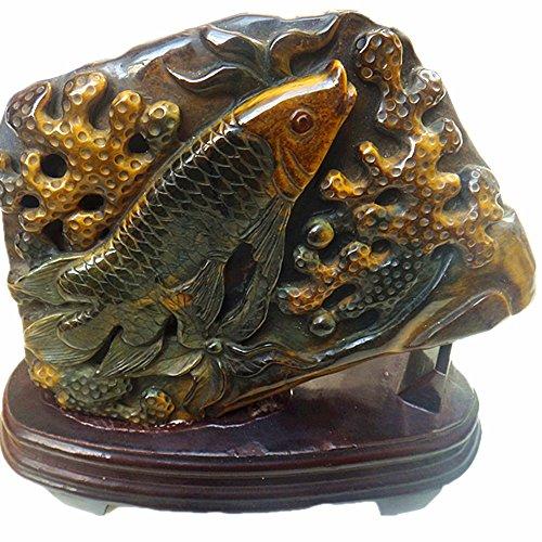 Natural Tiger Eye stone Hand Carving Sculpture Fish