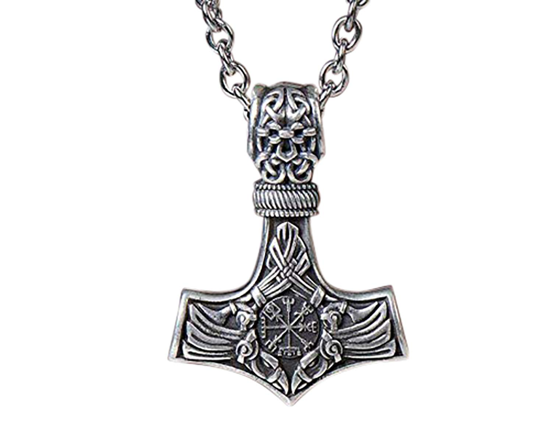 925 Sterling Silver Viking Thors Hammer Vegvisir Aegishjalmur Raven Huginn Muninn Pendant Necklace Amulet Talisman