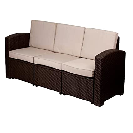 Amazon.com: Patio Furniture Loveseat with Cushions, Patio ...