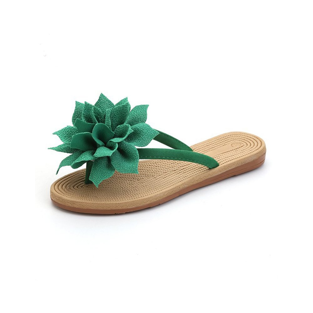 DULEE Damen Sommer Strand und Casual Flip Flops Thongs Sandalen Slipper  41 EU|Gr眉n