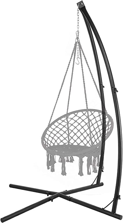 Amazon Com Lazzo C Type Hammock Chair Stand Heavy Duty Steel Solid Hammock Rack Stand Adjustable Height For Hanging Chair Tree Tent Loungers Air Porch Swings Indoor Outdoor Patio Deck Yard 220lbs Capacity Black
