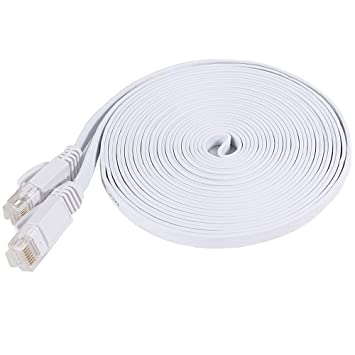 50 Foot, White NCElec Weatherproof Flat Cat 6 Ethernet Cable Up To 1.0 Gbps and 250 MHz Cat6 RJ45 Connector 32AWG