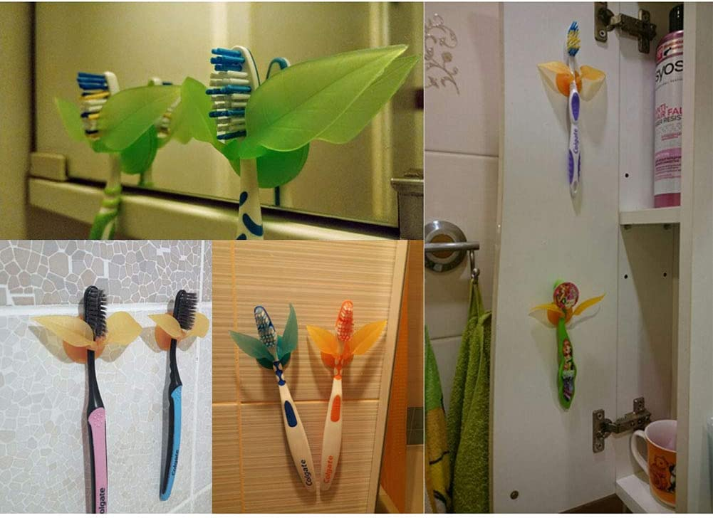 Blulu 8 Pieces Leaf Shaped Toothbrush Razor Holder Multi-Functional Suction Cup Hook Colorful Wall Suction Cup Hanger for Bathroom Kitchen Office