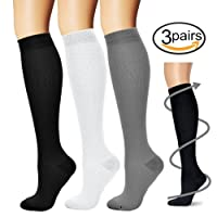 BLUETREE Compression Socks,(3 pairs) Compression Sock for Women & Men - Best For Running, Athletic Sports, Crossfit, Flight Travel ¡