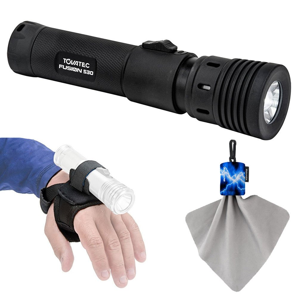 Tovatec Fusion 530 Video LED Dive Light + Tovatec Universal Underwater Torch/Flashlight Hand Strap + Spudz Cleaning Cloth - Deluxe Lighting Bundle by Photo4Less (Image #1)
