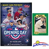2017 Topps Opening Day MLB Baseball Factory Sealed Retail Box with 11 Packs & 77 Cards Plus BONUS Vintage MICKEY MANTLE Card! Includes 1 Insert in EVERY PACK! Look for Autographs & Relics! WOWZZER!