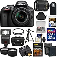Nikon D3300 Digital SLR Camera & 18-55mm (Black) & 55-200mm VR II Lens + WU-1a Wi-Fi Adapter + 32GB + Case + Battery + Tripod + Flash + 2 Lens Kit Overview Review Image