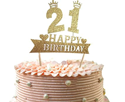 21st Or 12th Number Cake Topper Happy Birthday Party Supplies Decoration