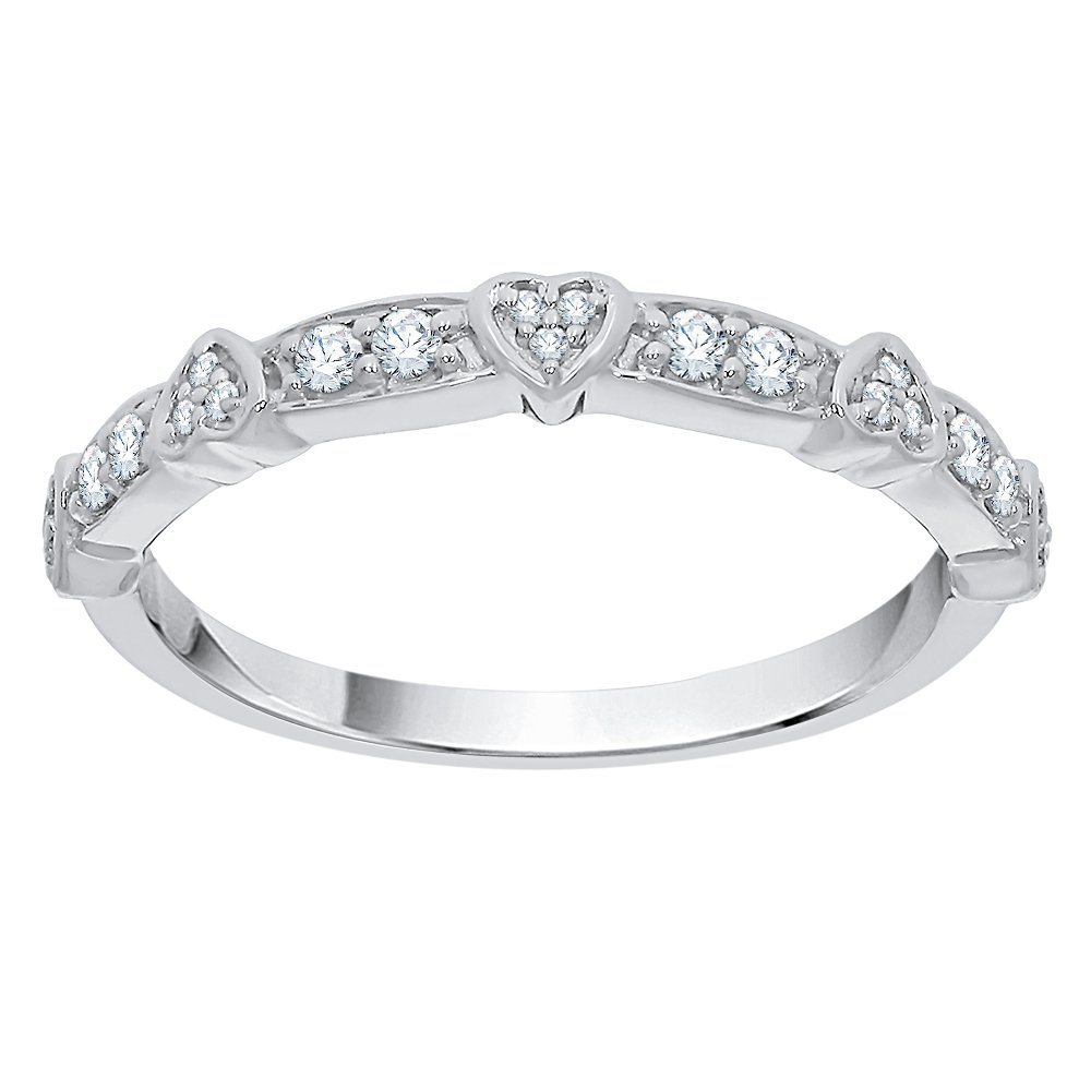 Diamond Heart Anniversary Ring in Sterling Silver (1/6 cttw) (GH Color, I2-I3 Clarity) (Size-11.25)