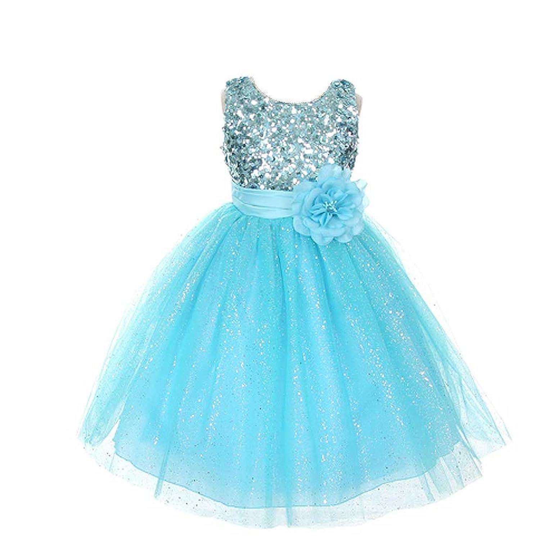 Amazon.com: Rain Kids Aqua Sequin Sleeveless Tulle Pageant Dress ...