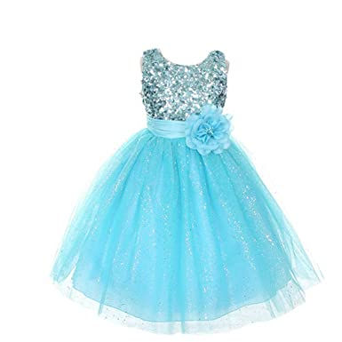 Amazon.com: Rain Kids Aqua Sequin Sleeveless Tulle Pageant Dress ...