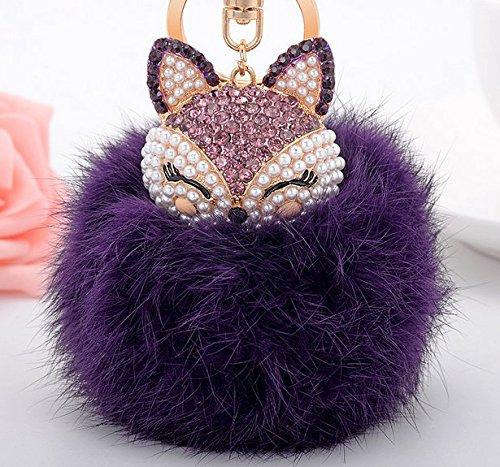 Temper_girl Lindo zorro llavero nueva decoración de moda pequeño objeto bolsa colgante decoración del coche