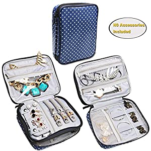 Teamoy Double Layer Jewelry Organizer Case, Travel Carry Bag for Earrings, Rings, Necklaces, Chains, Compact and All in One Place, Easy to Carry, Blue Dots