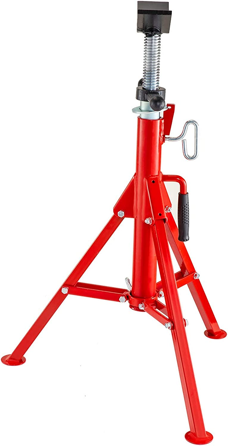 Renewed Mophorn 0.5-12 inch V Head Pipe Stand Adjustable Height 28-52 inch 6800lb Pipe Jack Stands Folding Portable High Folding Pipe Stand with V Head Fold A Trailer Jacks