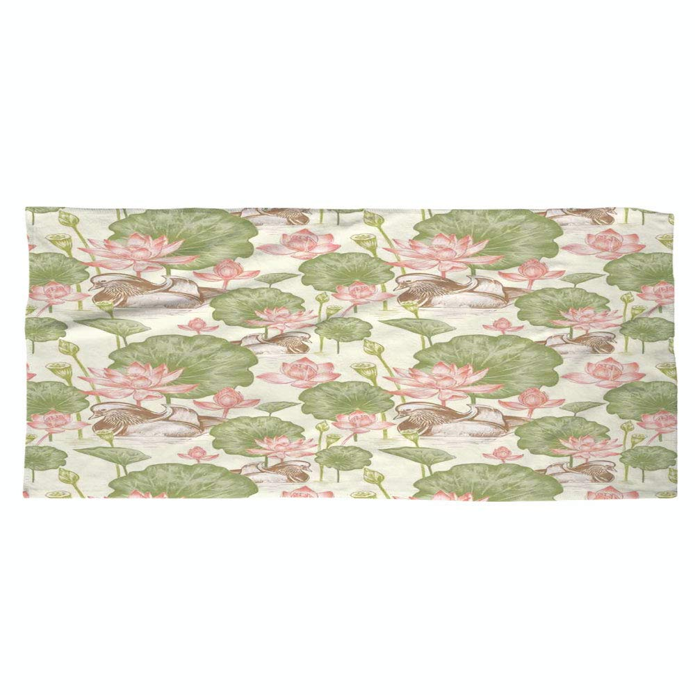 Large Cotton Microfiber Beach Towel,Duck,Mandarin Ducklings in Lake Flowers Lilies Vintage Print River Country Nature,Pink Green and White,for Kids, Teens, and Adults