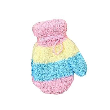 rechercher les plus récents Vente de liquidation 2019 pas cher Color Block Moufles d'hiver chaudes avec cordon pour bébé ...