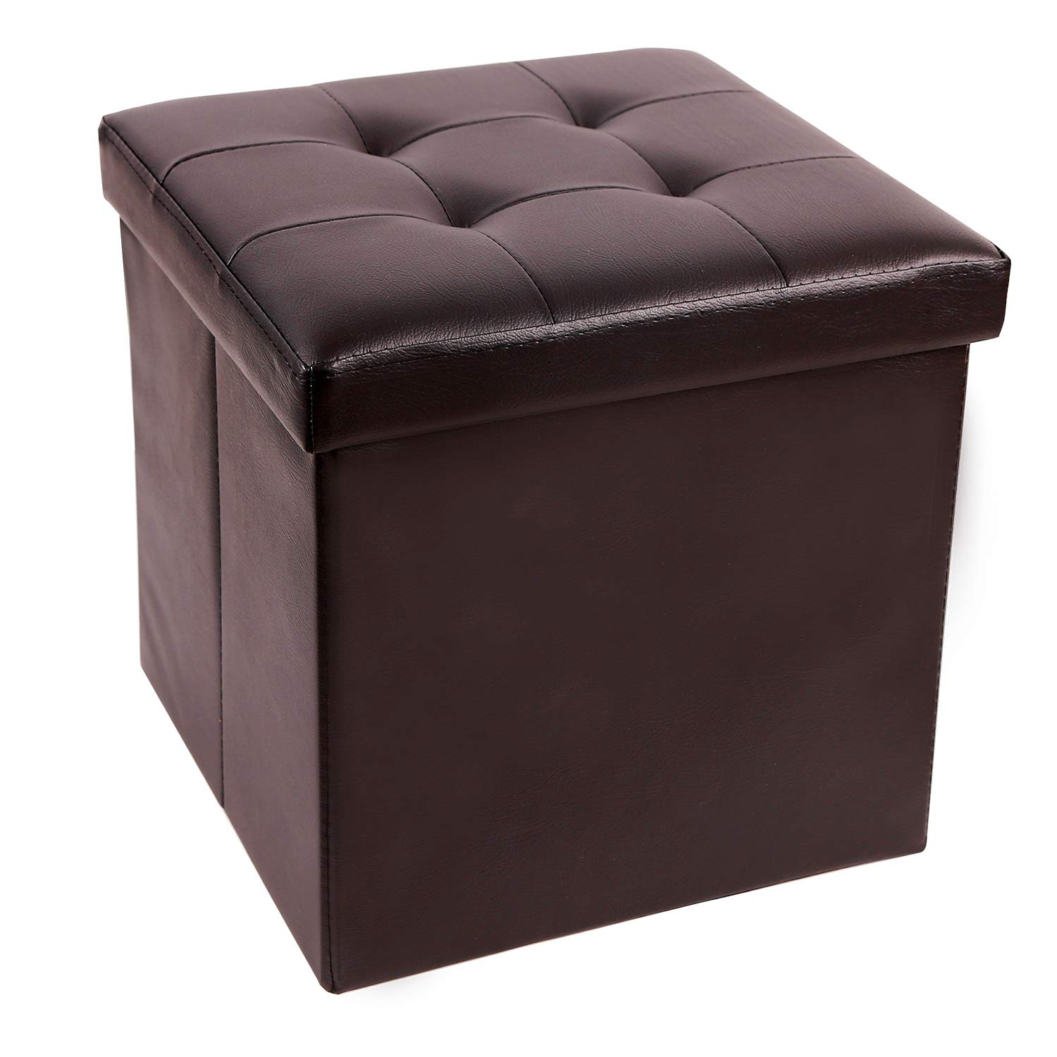 """REDCAMP 15""""(55L) Faux Leather Storage Ottoman Cube, Folding Small Ottoman Foot Rest for Bedroom Dorm Sofa, Brown"""