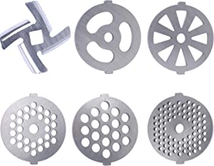 Podoy Meat Grinder Discs Plate/Grinding Blades for Size 5 Stand Mixer and Meat Grinder (Center Hole 7mm) 6 Pieces Stainless Steel Food Grinder Accessories