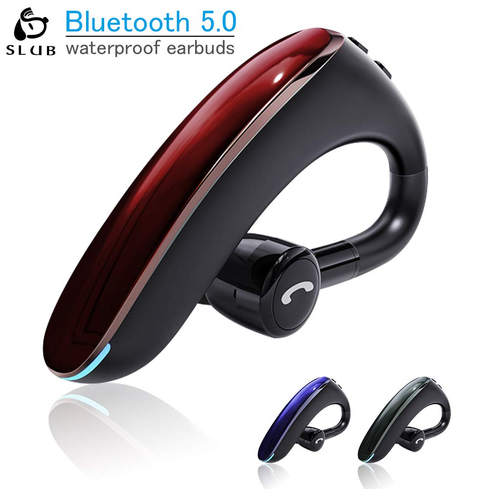 SLUB Bluetooth Headset,Wireless Headset V5.0 Bluetooth Phone Earpiece Business Earphones Sweatproof Headphones with in-Ear Earbuds Hands Free Bluetooth for Cell Phone red, Small