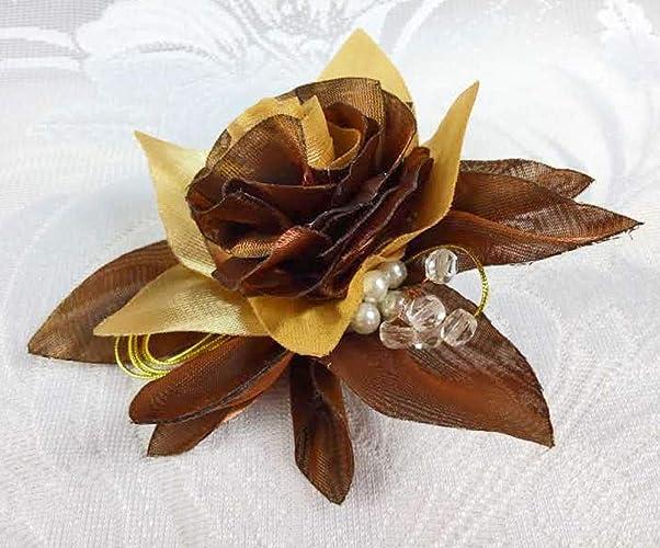 Amazon Gold Brown Organza Flower Rose Silk Brooch Pins Women 4